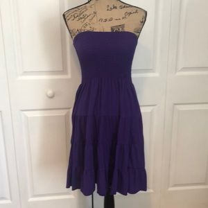 Purple strapless cotton dress/cover up